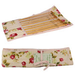 Floral Knitting Needle Case Inc 8 Pairs Bamboo Needles