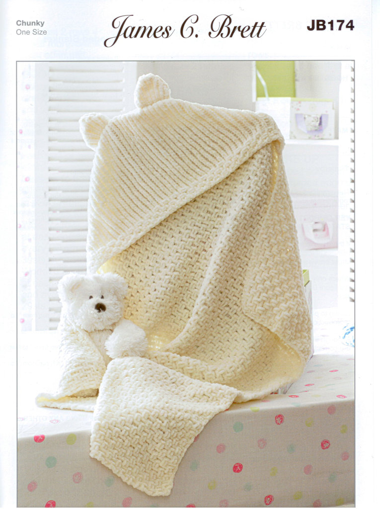 Knitting Pattern Baby Hooded Blanket : Buy Hooded Blanket JB174 Knitting Pattern James C Brett Flutterby
