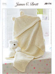 Hooded Blanket JB174 Knitting Pattern James C Brett Flutterby Chunky