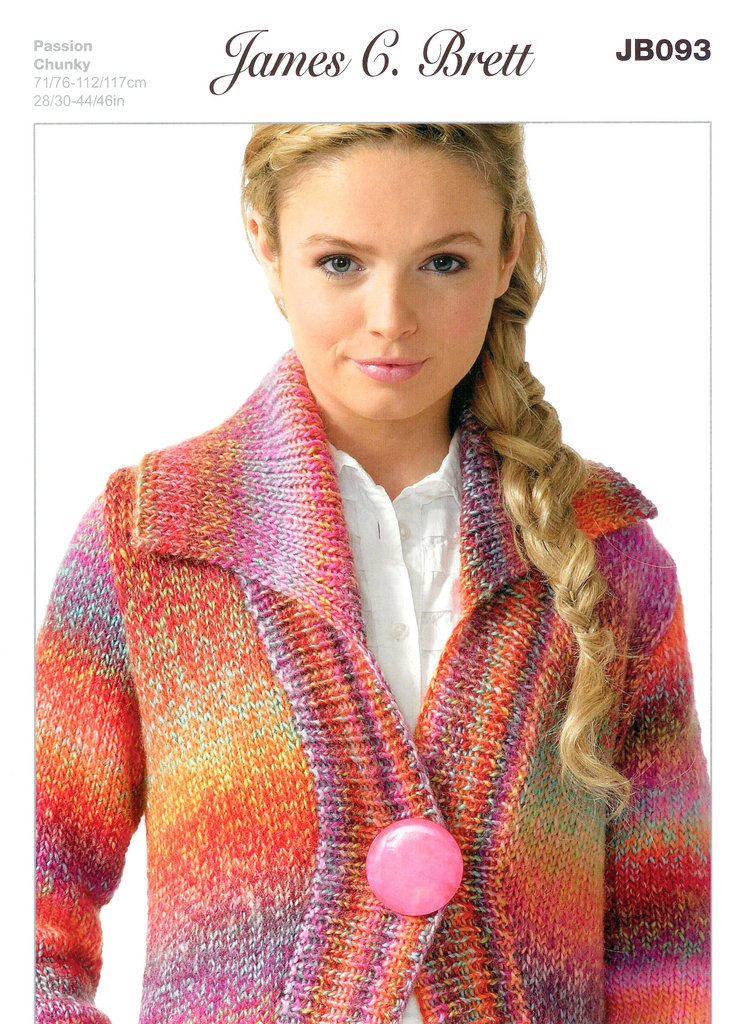 9e51cf3959740 Ladies Wide Collared Jacket JB093 Knitting Pattern - Athenbys