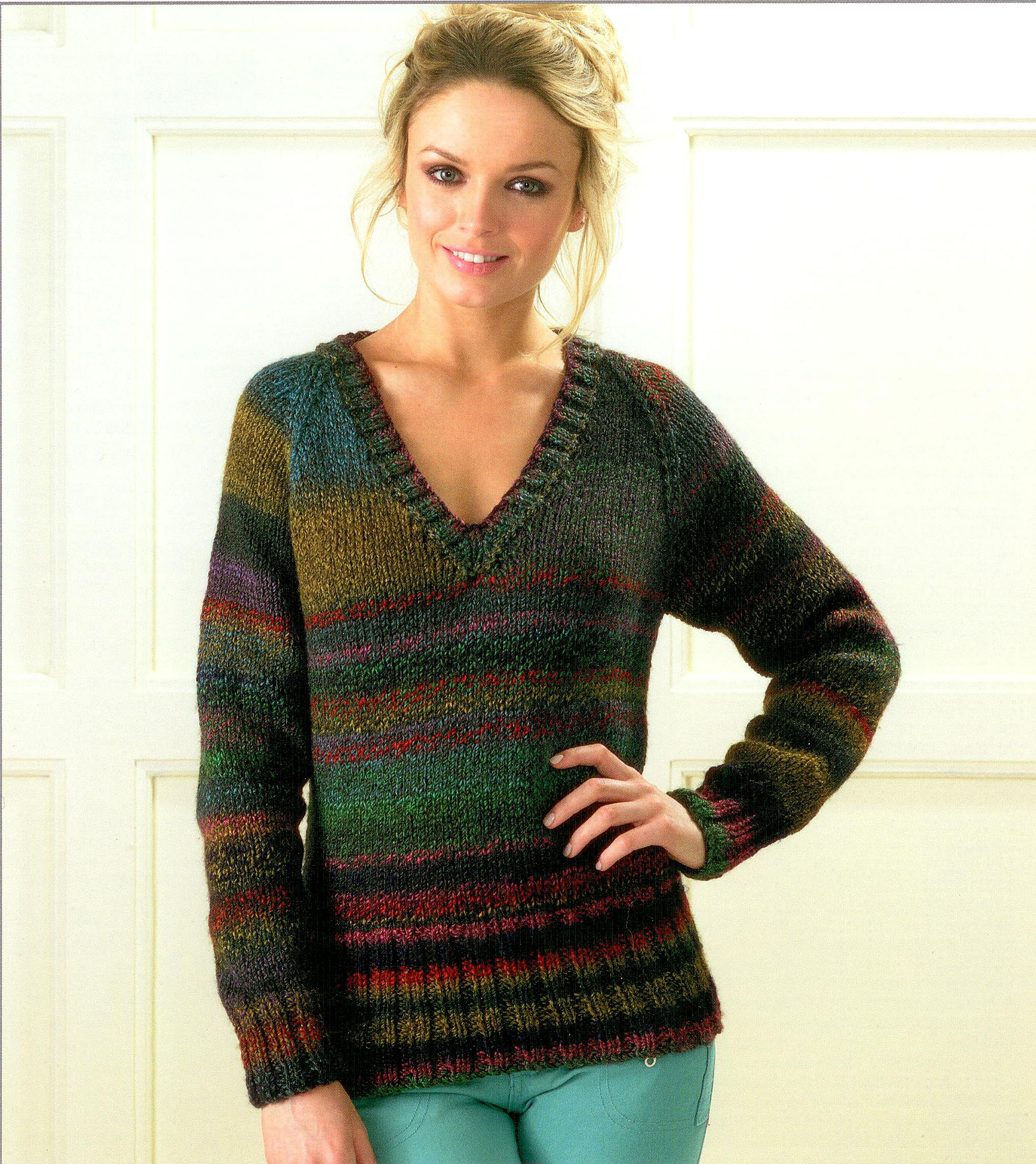 Knitting Pattern Ladies V Neck Jumper : Ladies Cabled V Neck Sweaters JB187 Knitting Pattern - Athenbys