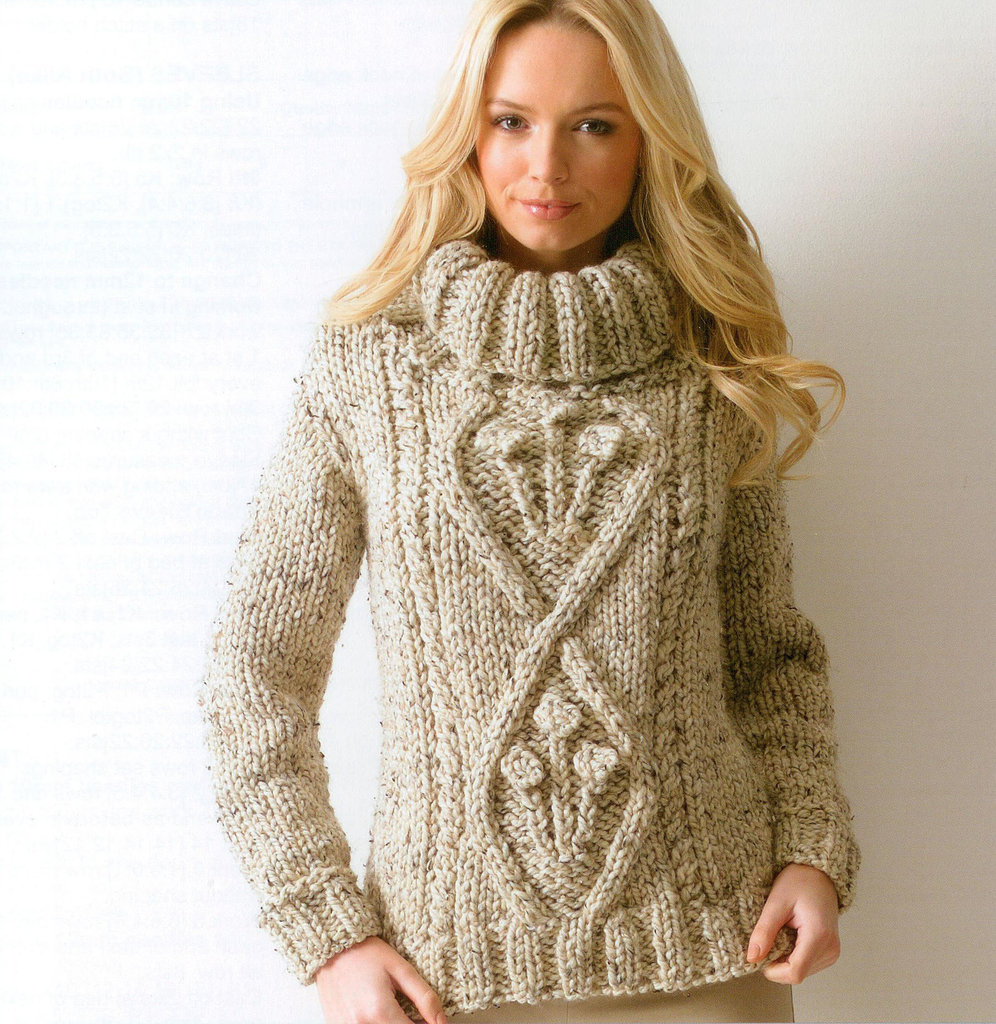 Ladies Chunky Jumper Knitting Pattern - Cardigan With Buttons