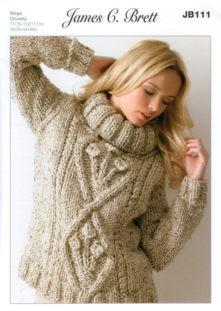 Knitting Pattern Jumper Ladies : Buy Ladies Sweater JB111 Knitting Pattern Rustic Mega Chunky