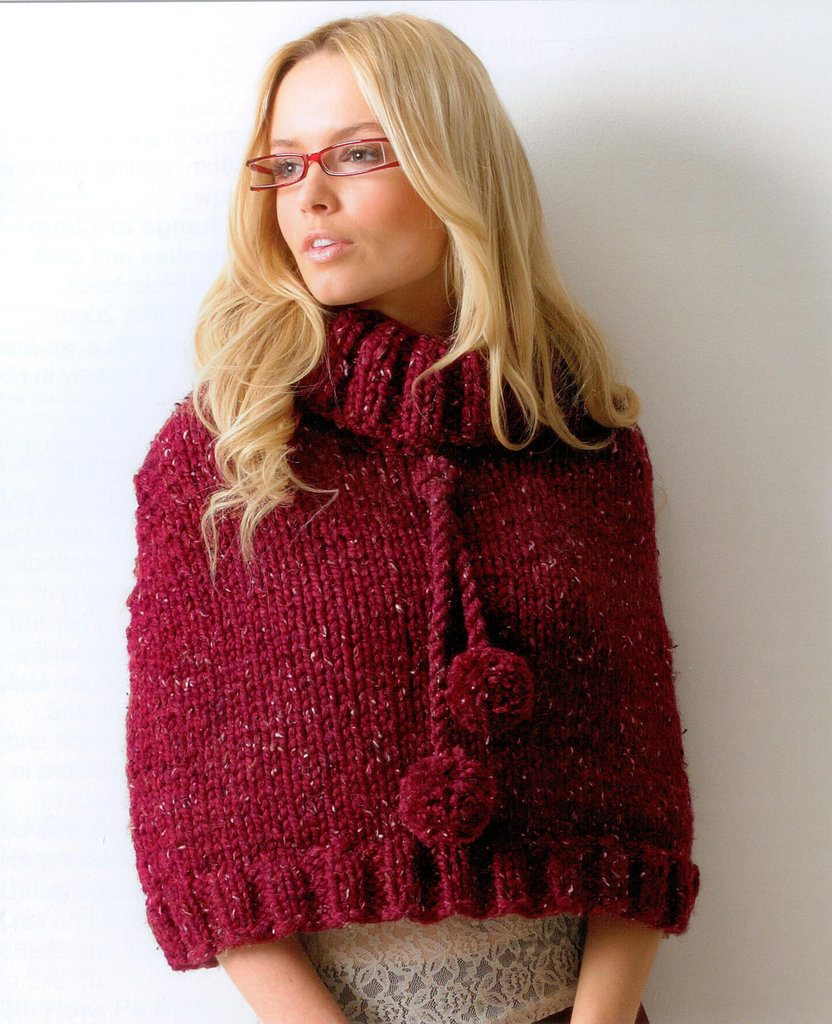 Buy Ladies Poncho JB113 Knitting Pattern Rustic Mega Chunky