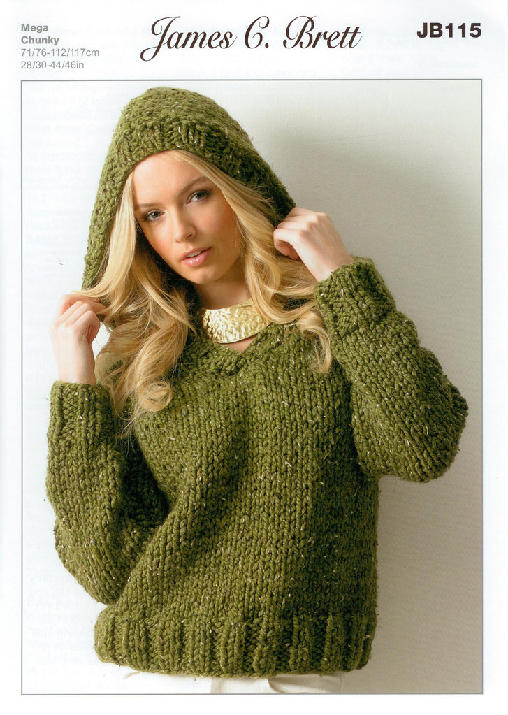 Knitting Patterns For Hooded Sweaters : Ladies Hooded Sweater JB115 Knitting Pattern Rustic Mega ...