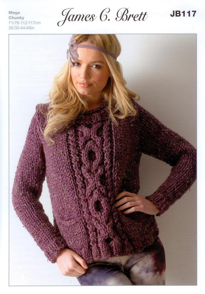 Buy Ladies Sweater Jb117 Knitting Pattern Rustic Mega Chunky