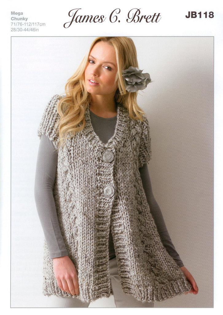 Ladies Knitting Patterns : Buy Ladies Waistcoat JB118 Knitting Pattern Rustic Mega Chunky