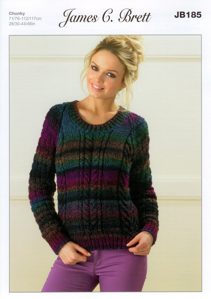 Buy Ladies Sweater Jb185 Knitting Pattern Marble Chunky