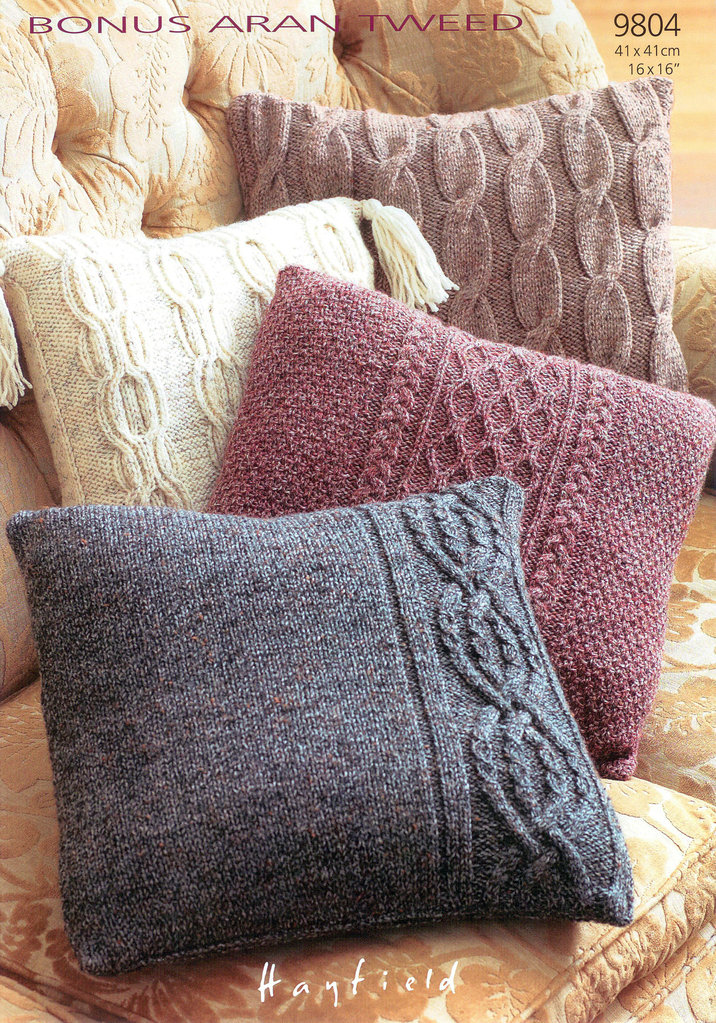 Hayfield Aran Knitting Pattern Books : Cushion Covers in Hayfield Bonus Aran Tweed 9804 Knitting ...
