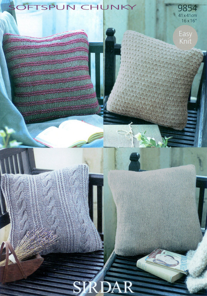 Cushion Covers In Sirdar Softspun Chunky 9854 Knitting Pattern