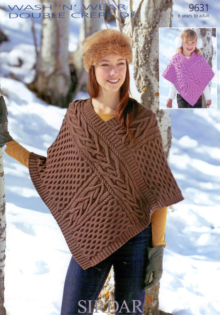 Double Knitting Patterns For Poncho : Poncho in Sirdar Wash n Wear Double Crepe DK 9631 Pattern