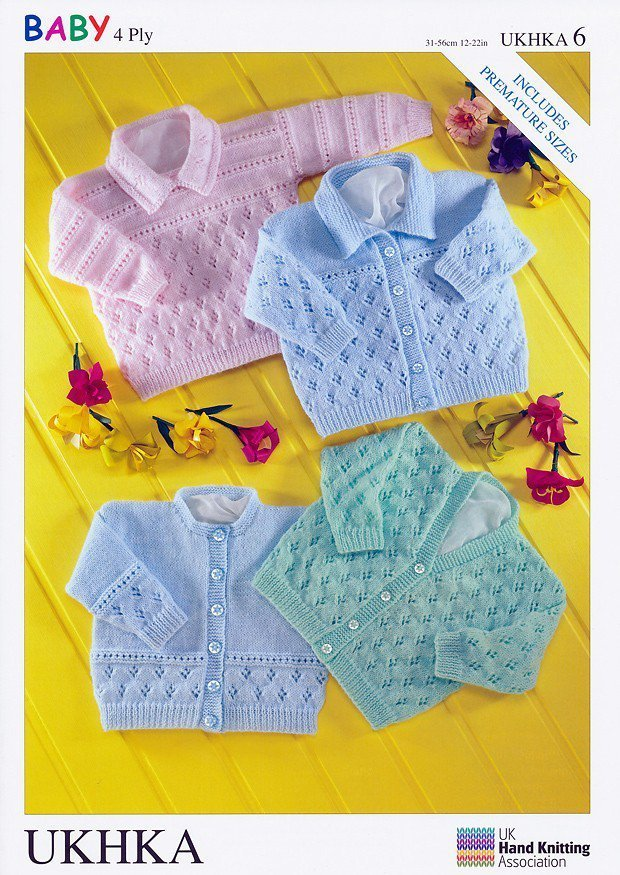Knitting Patterns For Babies In 4 Ply : UKHKA 6 Knitting Pattern Baby Cardigans and Sweater in 4 Ply