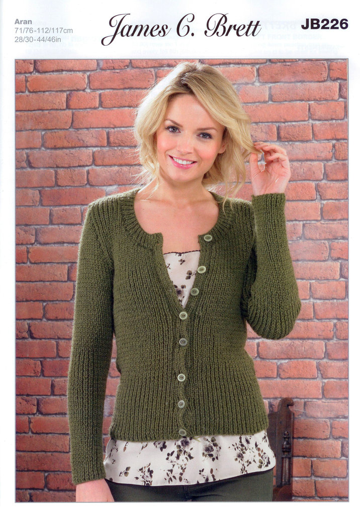 Knitting Patterns Cardigan Ladies : Ladies Cardigan JB226 Knitting Pattern James C Brett Aran