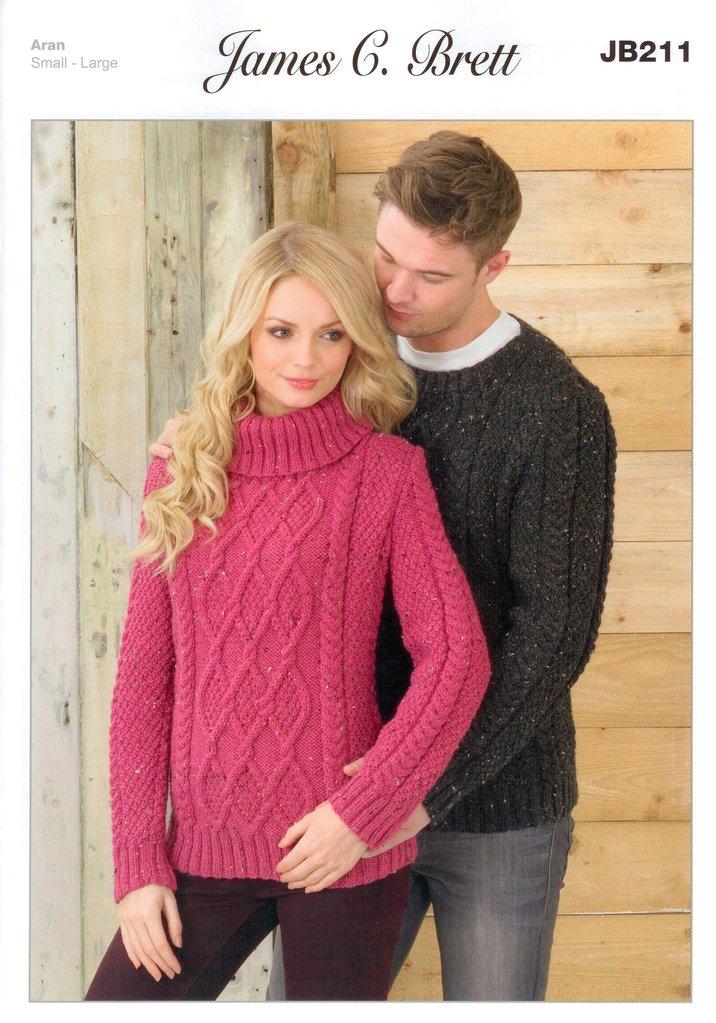 Sweaters Jb211 Knitting Pattern James C Brett Aran Sale