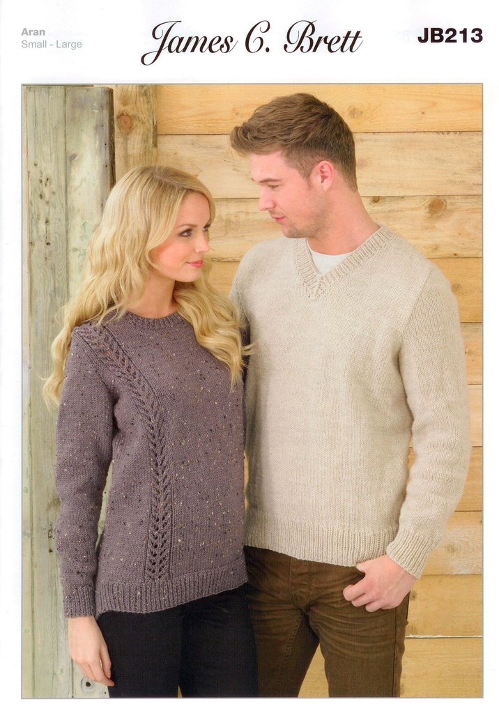 Sweaters Jb213 Knitting Pattern James C Brett Aran Sale
