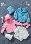 King Cole 2905 Knitting Pattern Sweater, Jacket, Mitts & Hat in King Cole Bounty Aran