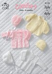 King Cole 3113 Knitting Pattern Baby Jacket, Coat, Bonnet & Hat in King Cole Comfort 3 Ply and 4 Ply