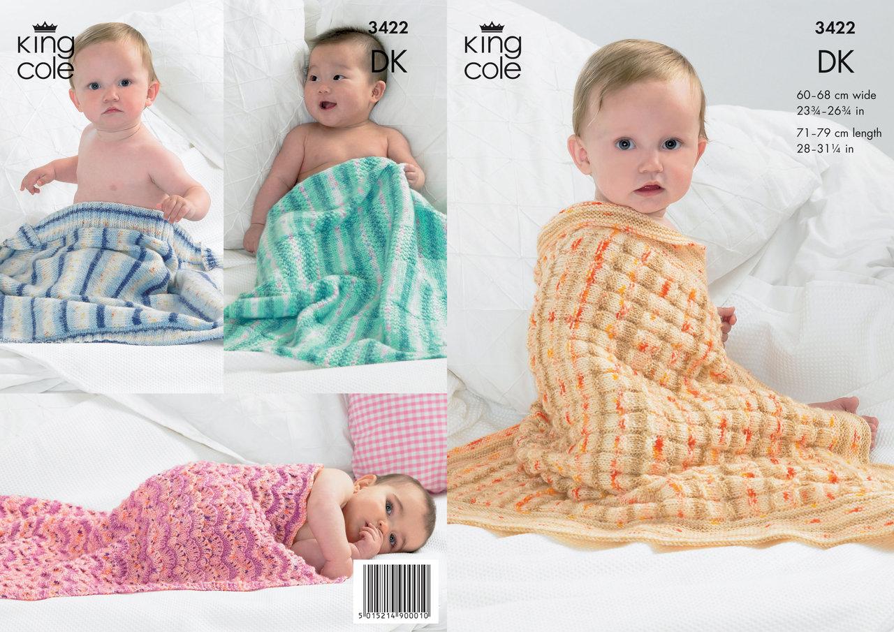 f5456c2c51e8 King Cole 3422 Knitting Pattern Blankets in King Cole Splash DK ...