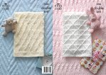 King Cole 3506 Knitting Pattern Baby Blankets in King Cole DK