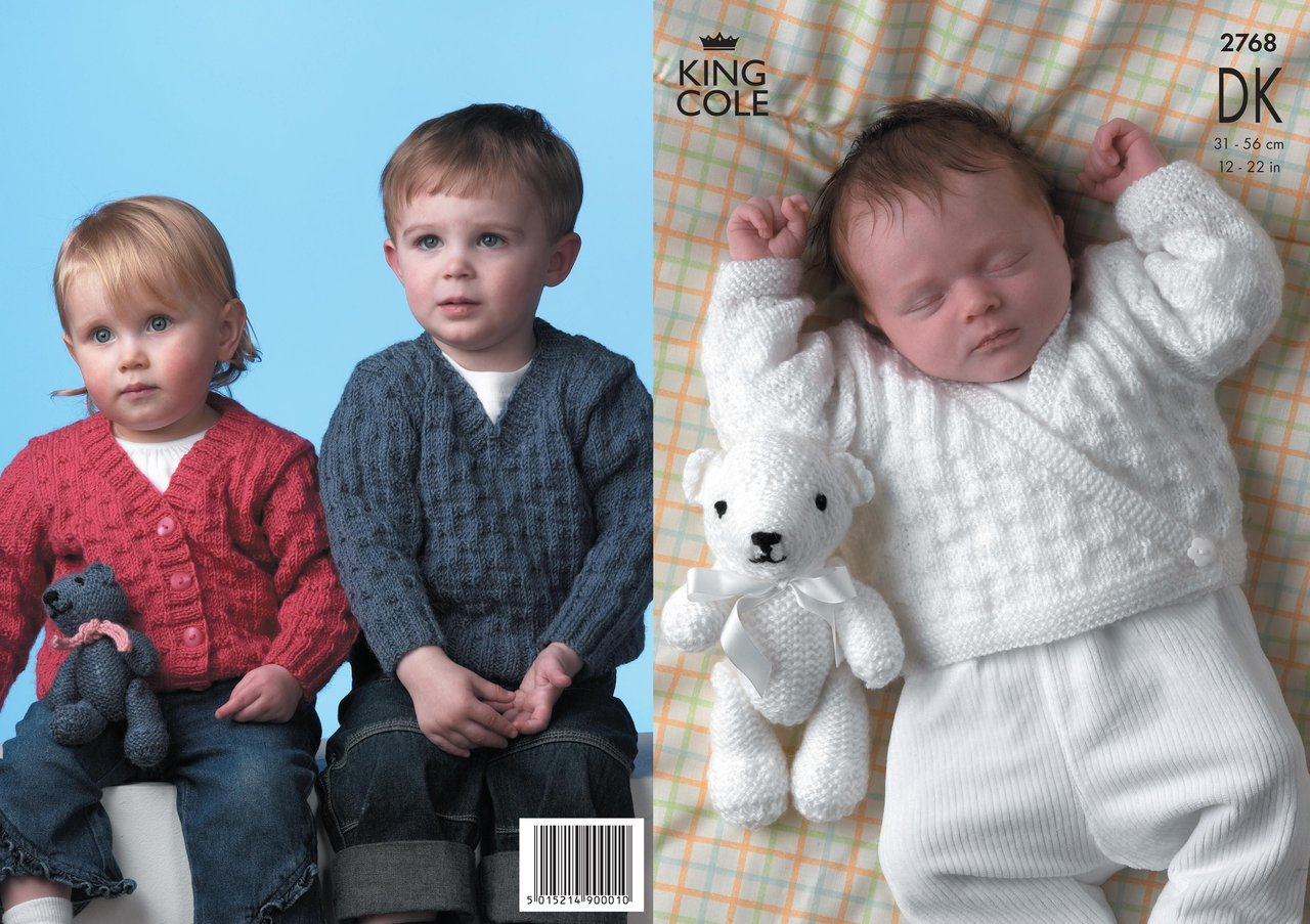 King Cole Teddy Bear Knitting Pattern : King Cole 2768 Knitting Pattern Sweater, Cardigans & Teddy Bear in King C...