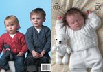King Cole 2768 Knitting Pattern Sweater, Cardigans & Teddy Bear in King Cole Big Value DK