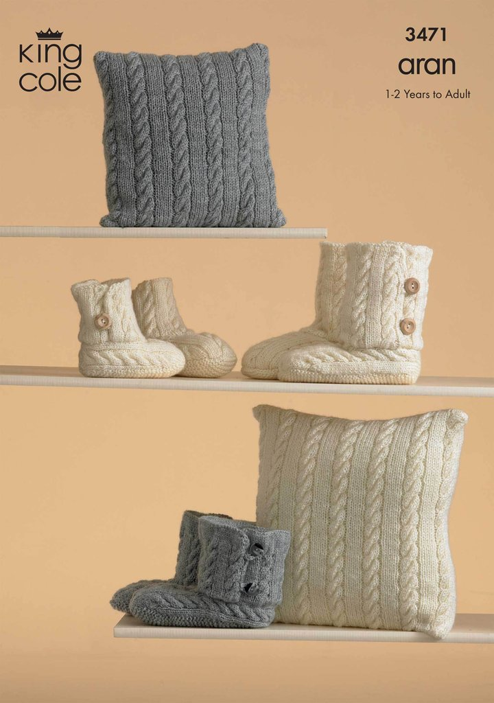 King Cole Knitting Pattern Stockists : King Cole 3471 Knitting Pattern Knitted Slippers and Cushions in King Cole Fa...