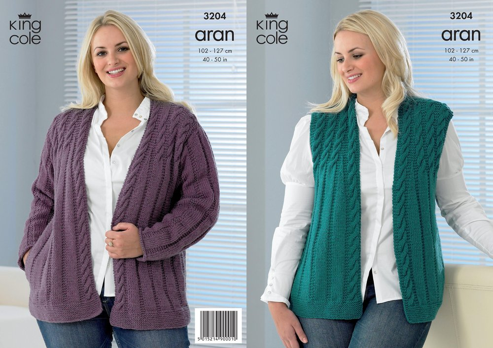 King Cole 3204 Knitting Pattern Womens Jacket And Waistcoat In King