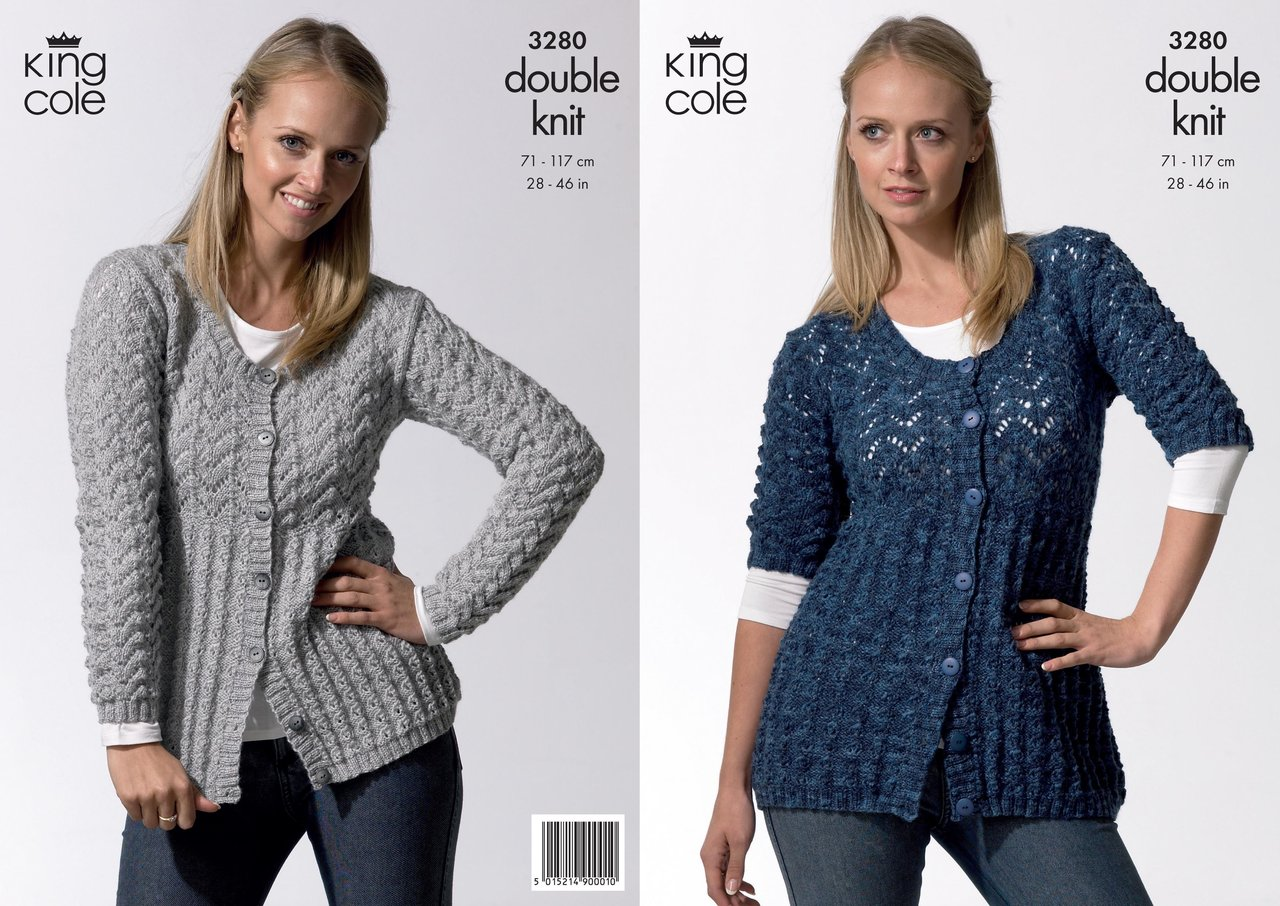 King Cole 3280 Knitting Pattern Womens Short and Long Sleeved ...