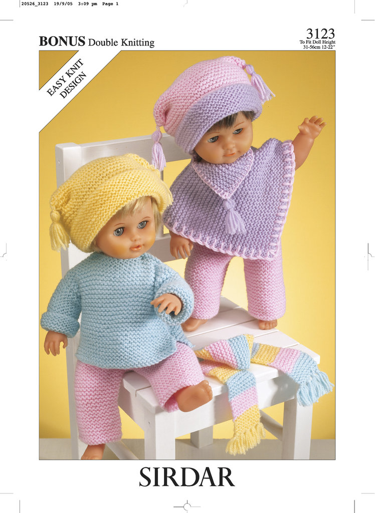Sirdar 3123 Knitting Pattern Dolls Outfit in Hayfield Baby Bonus DK