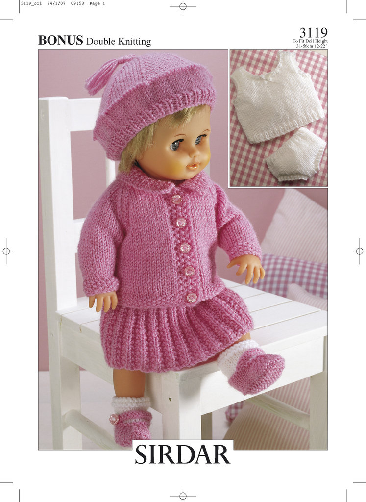 Sirdar Toy Knitting Patterns : Sirdar 3119 Knitting Pattern Dolls Outfit in Hayfield Baby Bonus DK