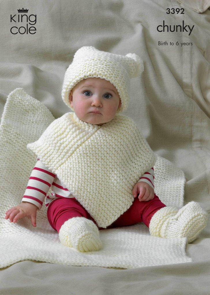 King Cole 3392 Knitting Pattern Babies Hat, Poncho, Bootees