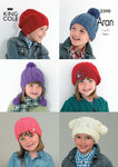 King Cole 3390 Knitting Pattern Children's Hats in King Cole Comfort Aran
