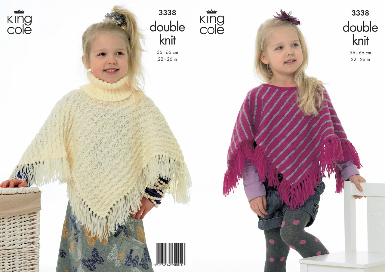 King Cole 3338 Knitting Pattern Ponchos in King Cole Merino Blend DK - Athenbys