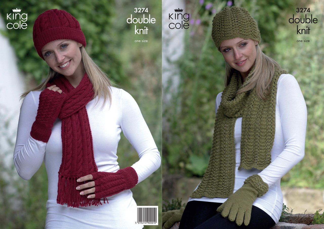 King Cole 3274 Knitting Pattern Hat, Scarves and Gloves in King Cole Baby Alp...