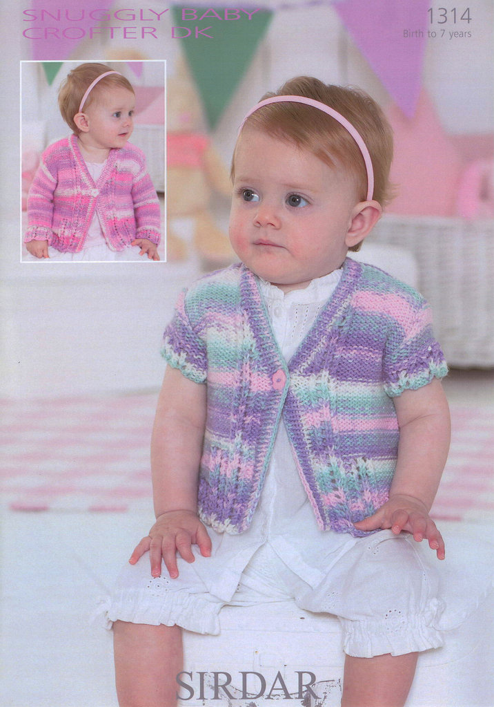 Sirdar Baby Knitting Patterns : Cardigans in Sirdar Snuggly Baby Crofter DK 1314 Knitting Pattern