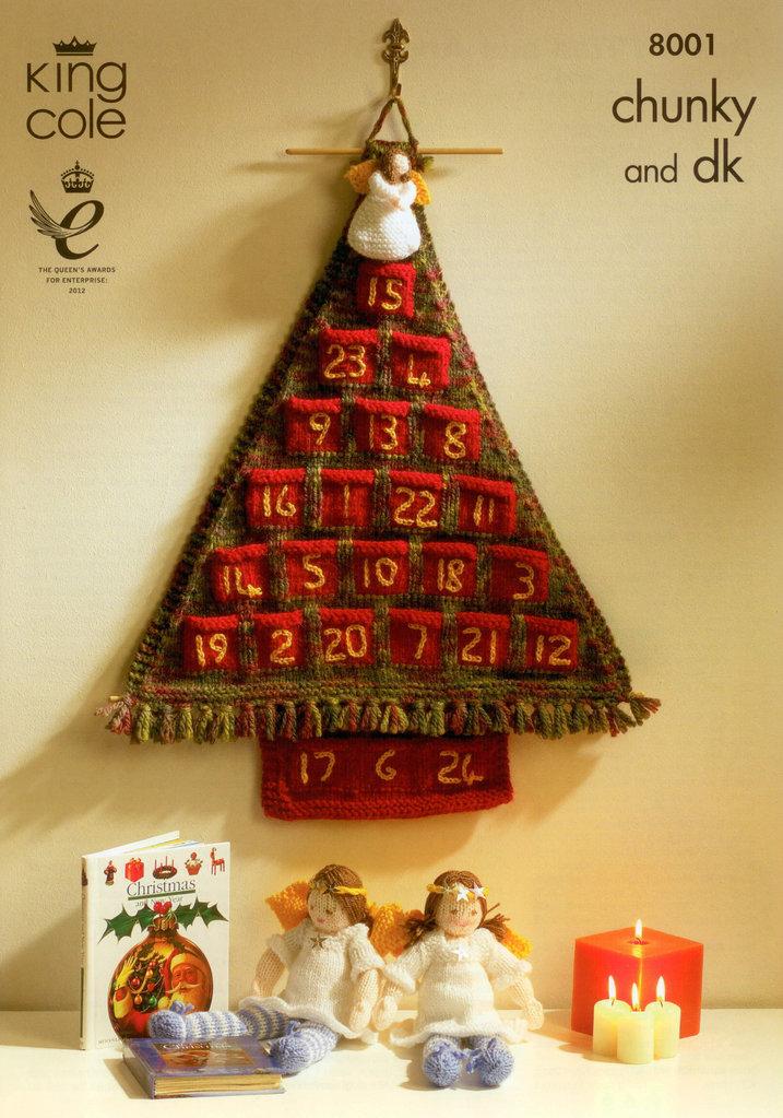 Knitting Pattern For Christmas Tree Angel : King Cole 8001 Knitting Pattern Christmas Advent Tree and Angels