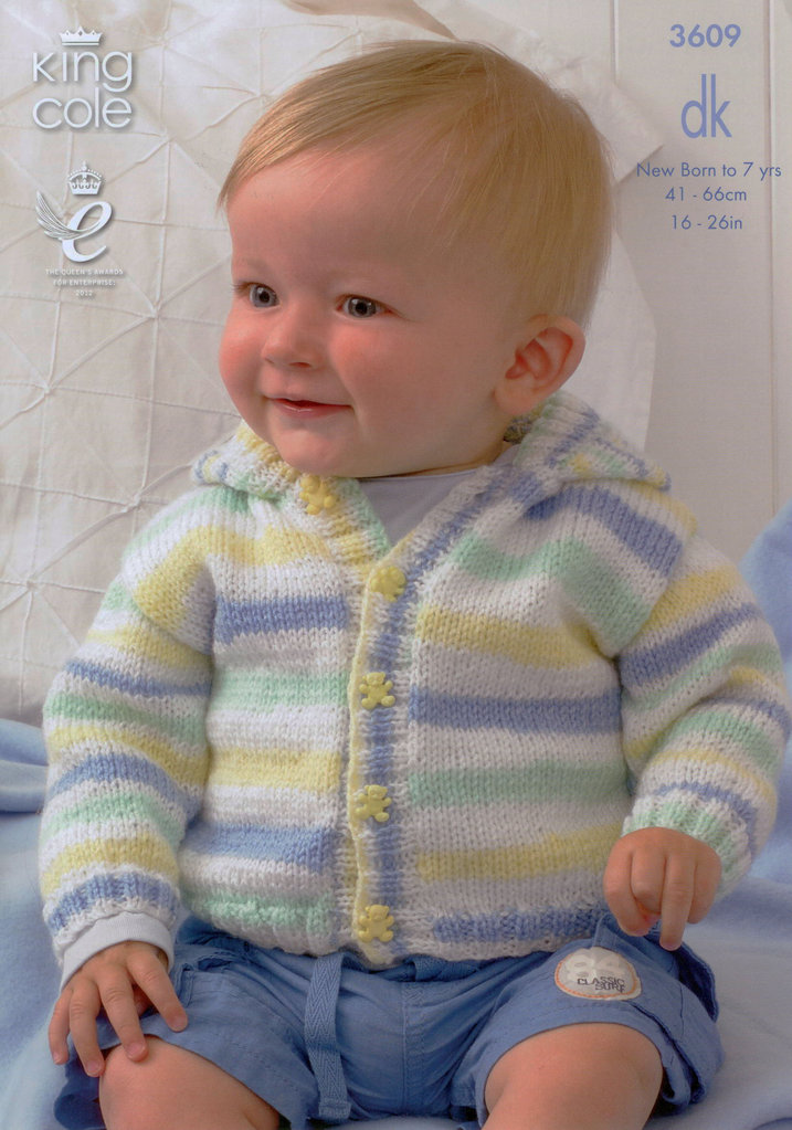 King Cole 3609 Knitting Pattern Babies Cardigans