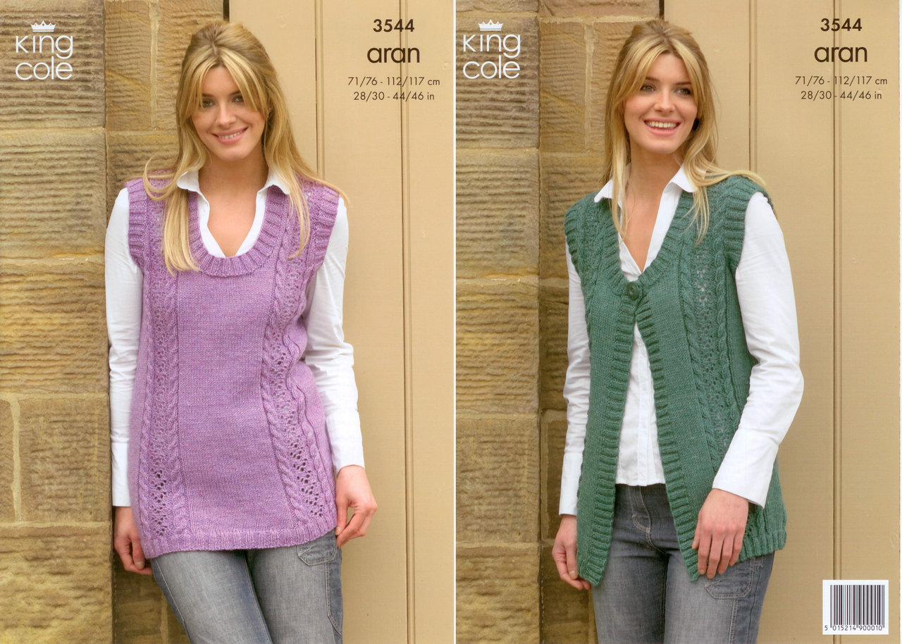Knitting Patterns Free Ladies Waistcoat : King Cole 3544 Knitting Pattern Waistcoat and Slipover