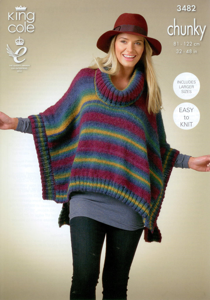 Knit In The Round Poncho Pattern : King Cole 3482 Knitting Pattern Ladies Ponchos