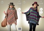 King Cole 3482 Knitting Pattern Ladies Ponchos
