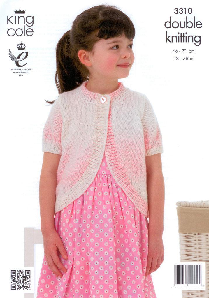 King Cole 3310 Knitting Pattern Girls Boleros