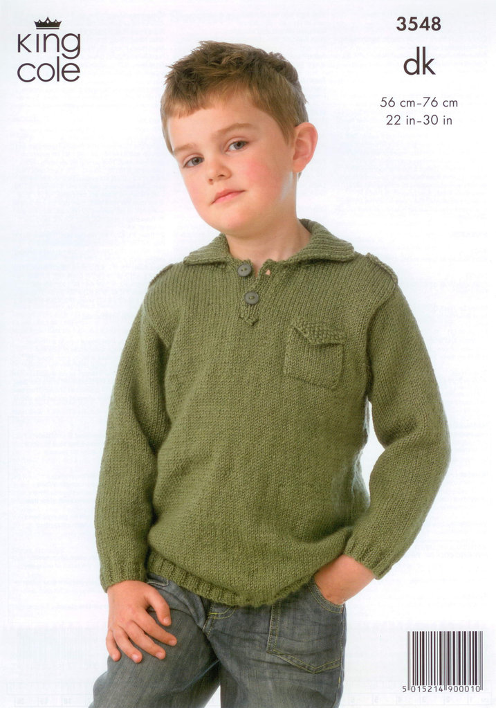 Knitting Pattern King Cole : King Cole 3548 Knitting Pattern Boys Jacket and Sweater