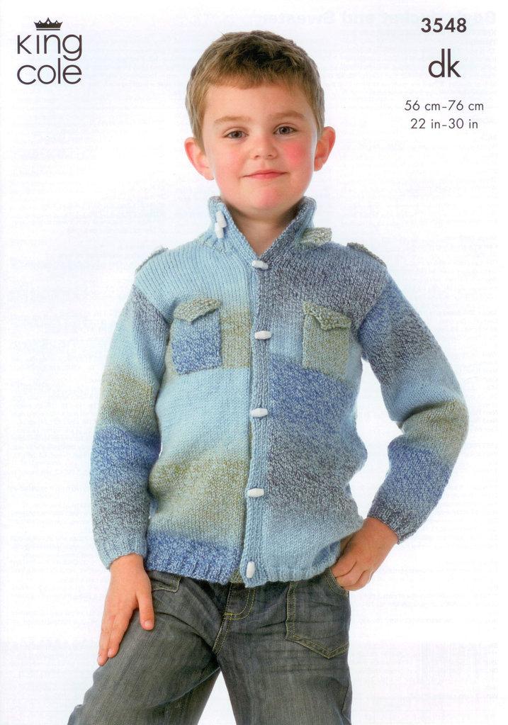 Knitting Jacket For Boy : King cole knitting pattern boys jacket and sweater
