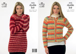 King Cole 3312 Knitting Pattern Ladies Sweater and Jacket