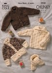King Cole 2938 Knitting Pattern Baby Sweater Cardigans & Scarf in Magnum Chunky