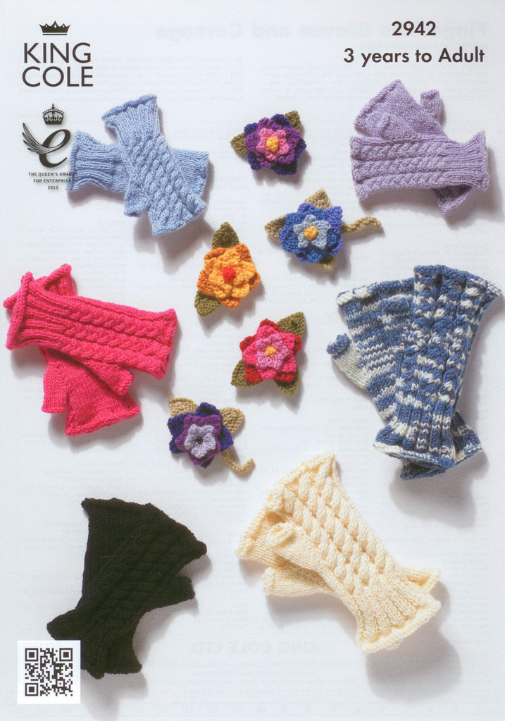 King Cole 2942 Knitting Pattern Fingerless Gloves and Corsage