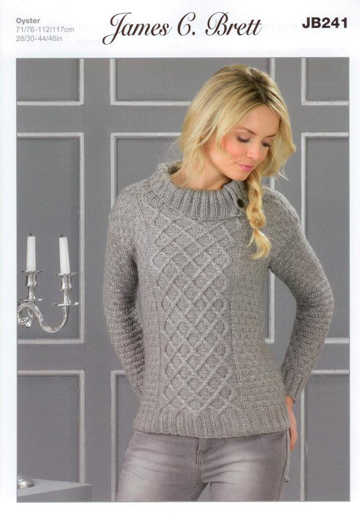 Ladies Sweater Jb241 James C Brett Oyster Knitting Pattern