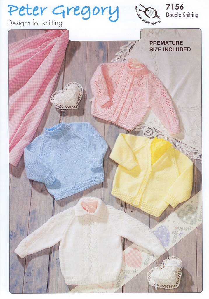 Peter Gregory 7156 Baby Sweater And Cardigans Knitting Pattern