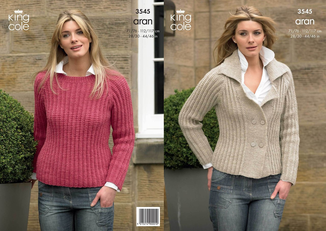King Cole 3545 Knitting Pattern Jacket And Sweater In King Cole