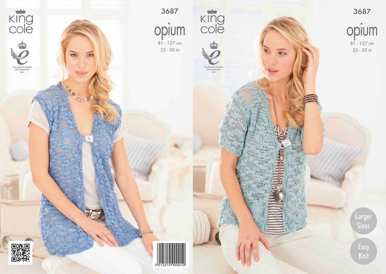 Knitting Pattern King Cole : King Cole 3687 Knitting Pattern Ladies Cardigan and ...